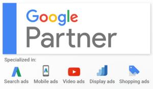 Google Partner Badge mit allen Spezialisierungen