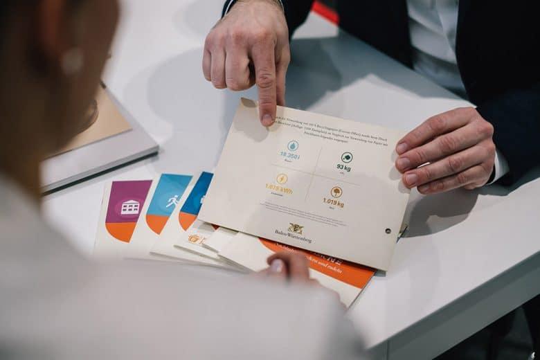 Gestaltete Drucksachen aus einer Druckerei werden präsentiert