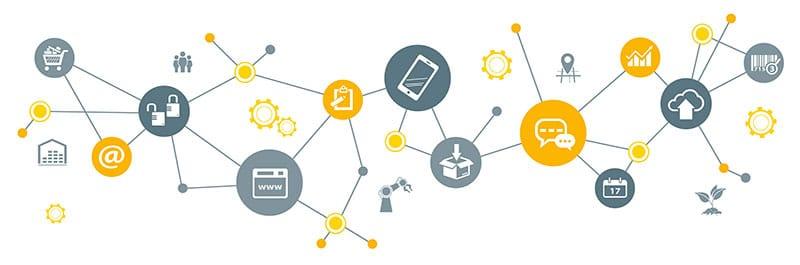 Mehrere Grafiken und Icons mit Digital und Print relevanten Themen sind miteinander vernetzt