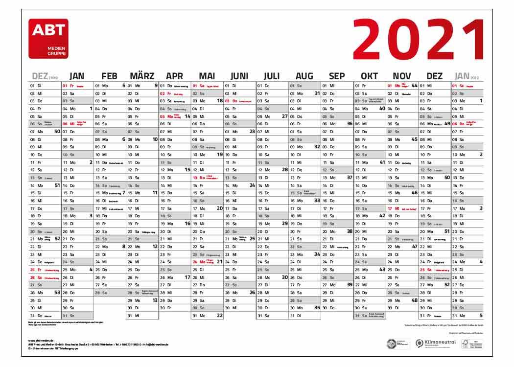Darstellung des Wandkalenders am Beispiel der ABT Mediengruppe