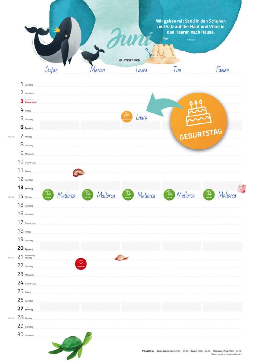 Sticker auf Familienkalender